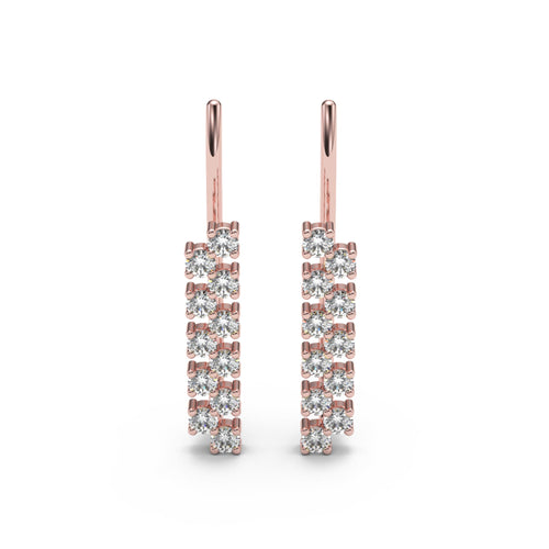 Two-Row Round Cut Basket Diamond Ear Climbers