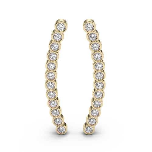 Beaded Bezel Diamond Ear Climbers