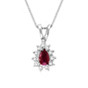 Ruby & Diamond Halo Necklace