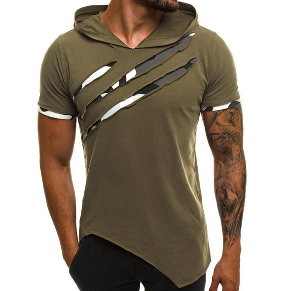 Ripped Irregular Hem Hooded T-Shirt