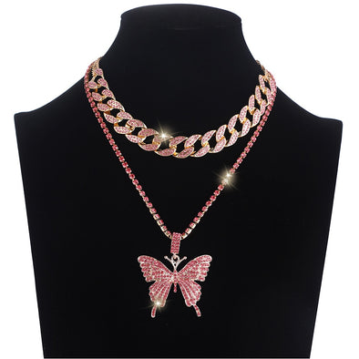 Iced Out Butterfly Necklace Set With Cuban Link Chain