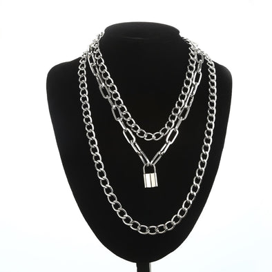 Layered Chain Necklace With Lock Pendant