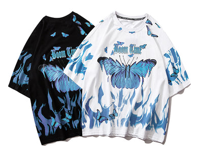 Blue Flame Butterfly T Shirt