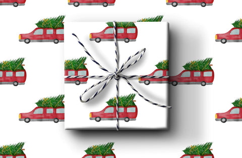 Red Car Wrapping Paper