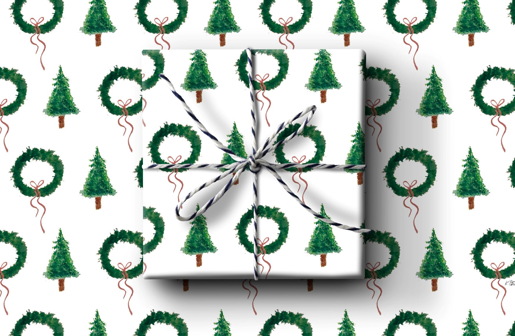 Tree and Wreathe Wrapping Paper