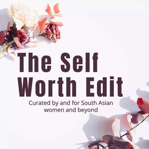 The Self Worth Edit text with flowers in the background.
