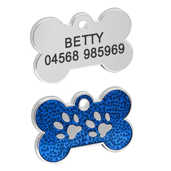 Paw Print Design Bone ID Tag