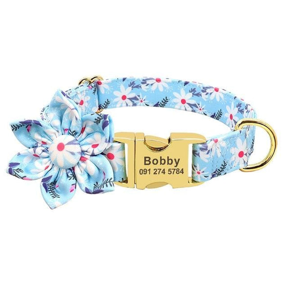 Custom Collar - Blue Daisy