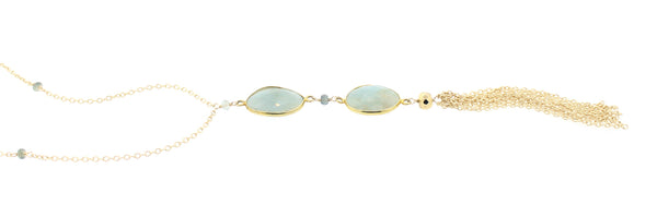 Gemma Necklace in Moss Aquamarine