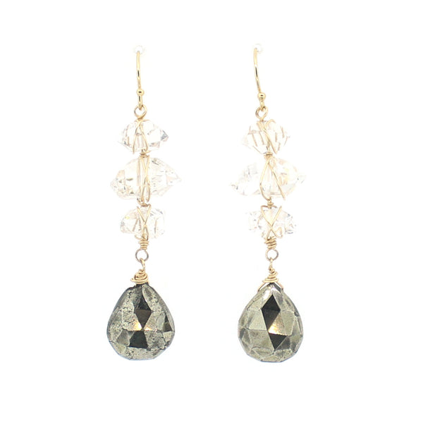 Kira Earrings in Pyrite