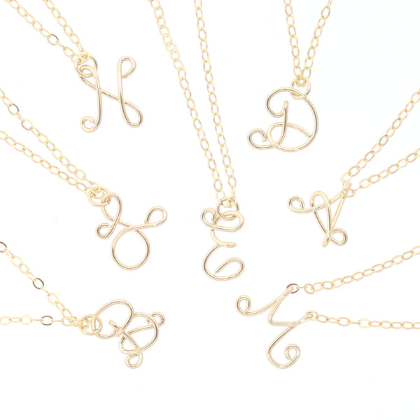 Wire Mini Initial Necklace