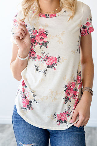IVY FLORAL TOP | IVORY AND FUCHSIA