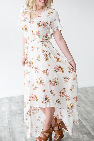 Ivory Floral Crescent Hem Dress