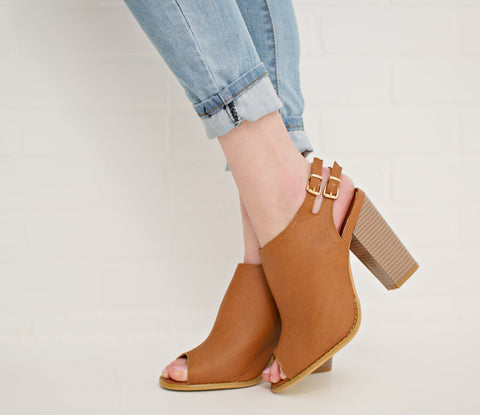 TAN BACK BUCKLE BOOTIES