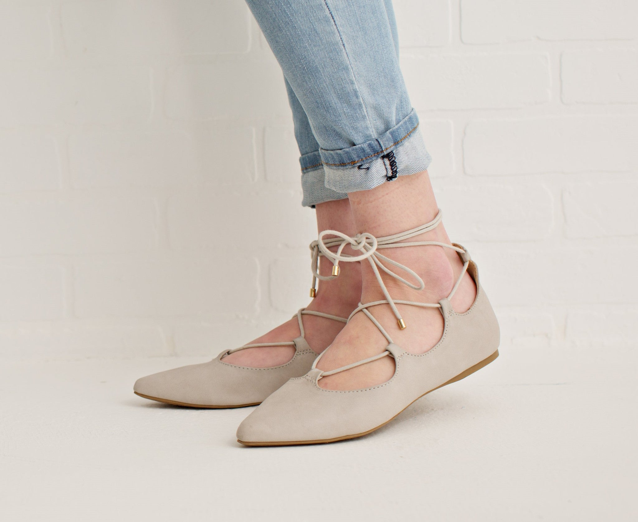 LACE UP FLATS - LIGHT GRAY – Simply Reese