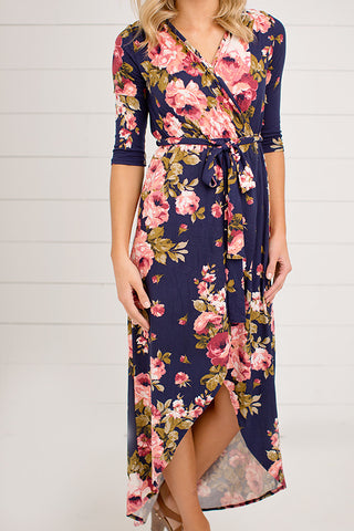 3/4 SLEEVE FLORAL MAXI WRAP DRESS
