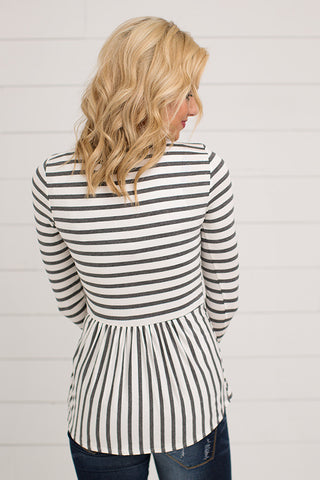 LONG SLEEVE STRIPED RUFFLE DETAIL TOP | 4 COLORS
