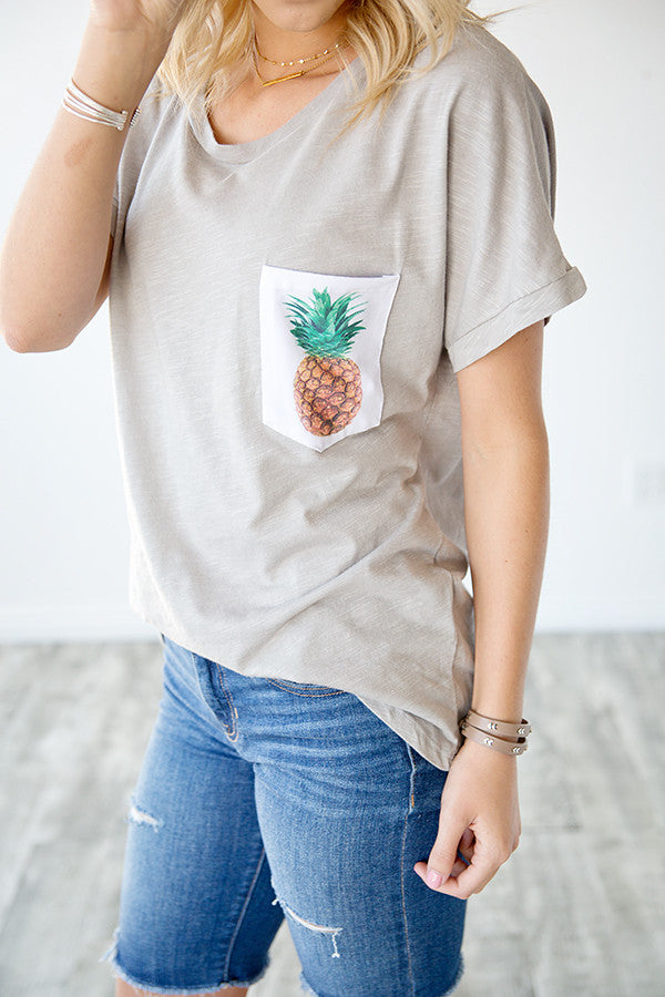 PINEAPPLE POCKET TEE | GREY