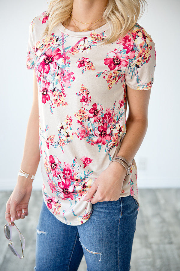 GRACIE FLORAL TOP | TAUPE