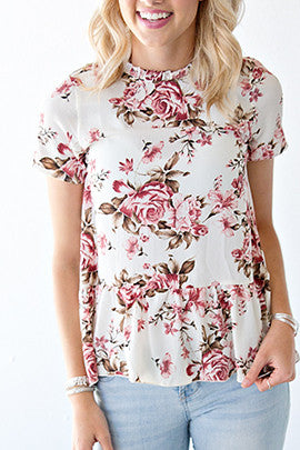 IVORY BABYDOLL FLORAL TOP