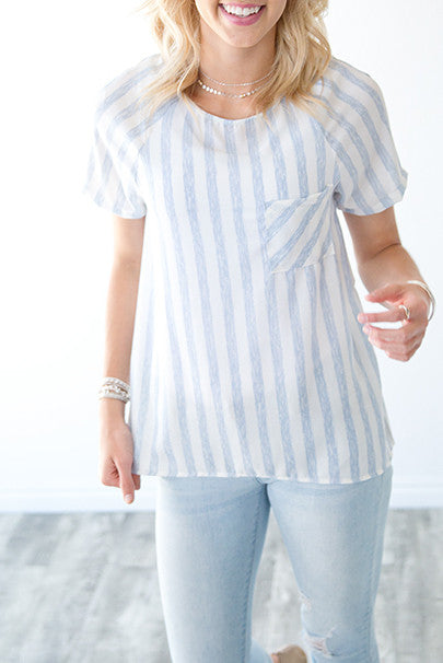 DUSTY BLUE STRIPED POCKET BLOUSE