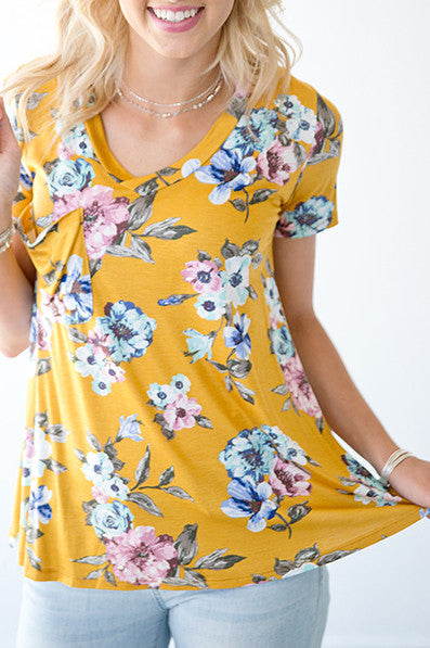 MUSTARD FLORAL POCKET TOP