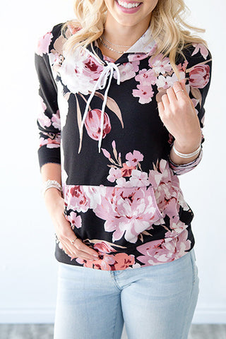 FLORAL LIGHTWEIGHT HOODIE | BLUSH AND BLACK