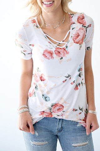 TANYA'S FAVORITE FLORAL CRISS CROSS TOP