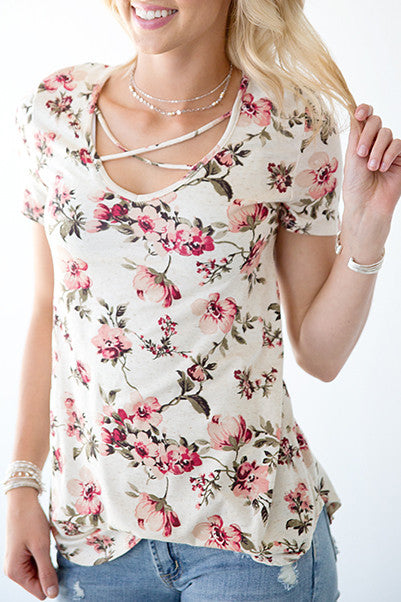 OATMEAL FLORAL CRISS CROSS  TOP | DUSTY PINK