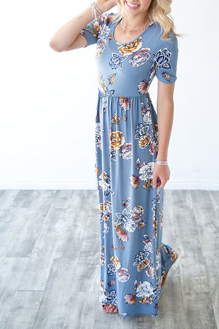 MIRANDA MAXI DRESS | DUSTY BLUE