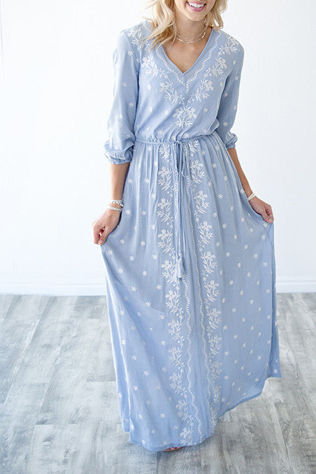 EMBROIDERED V NECK MAXI DRESS | DUSTY BLUE