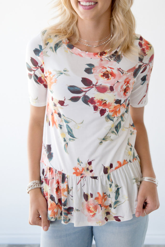 IVORY SUMMER FLORAL PEPLUM TOP