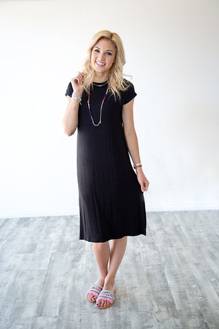 SUMMER SWING DRESS WITH SIDE SLIT | BLACK