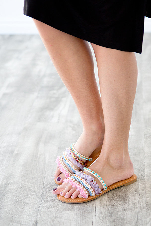 SLIP ON SANDAL | POMS AND TASSEL