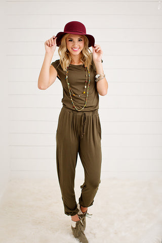 OLIVE ROMPER WITH DRAWSTRING TIES