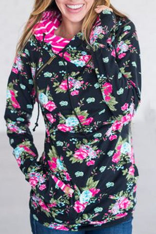 BLACK FLORAL DOUBLE HOODED SWEATSHIRT