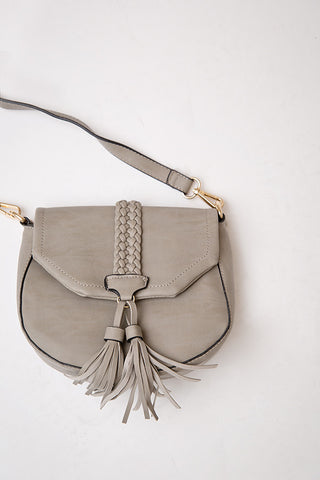 TAYLOR FRINGE SATCHEL BAG  | GREY