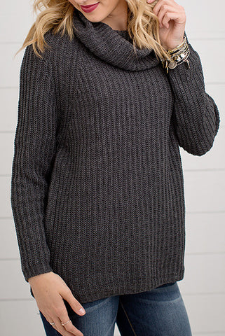 CHUNKY KNIT TURTLE NECK SWEATER | CHARCOAL