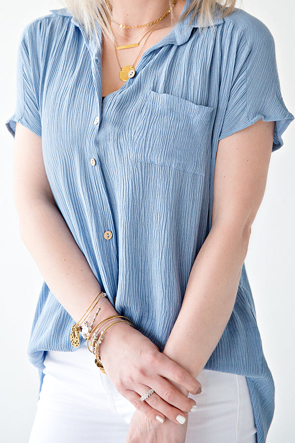 REMY BUTTON FRONT BLOUSE | DUSTY BLUE