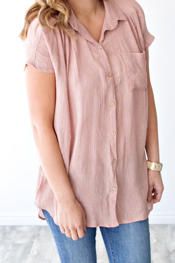 REMY BUTTON FRONT BLOUSE | BLUSH