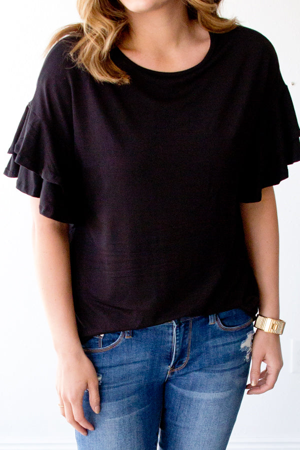 KENDRA RUFFLE SLEEVE TOP | BLACK