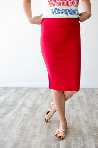 LIBERTY PENCIL SKIRT | RED
