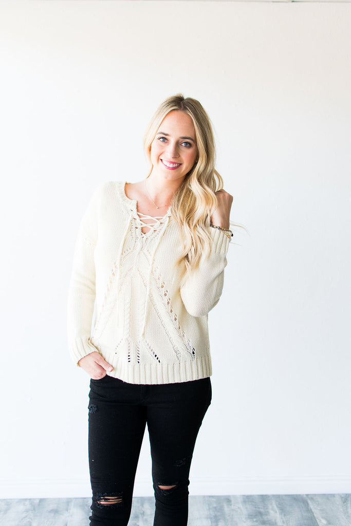 ISLA KNIT LACE UP SWEATER | IVORY