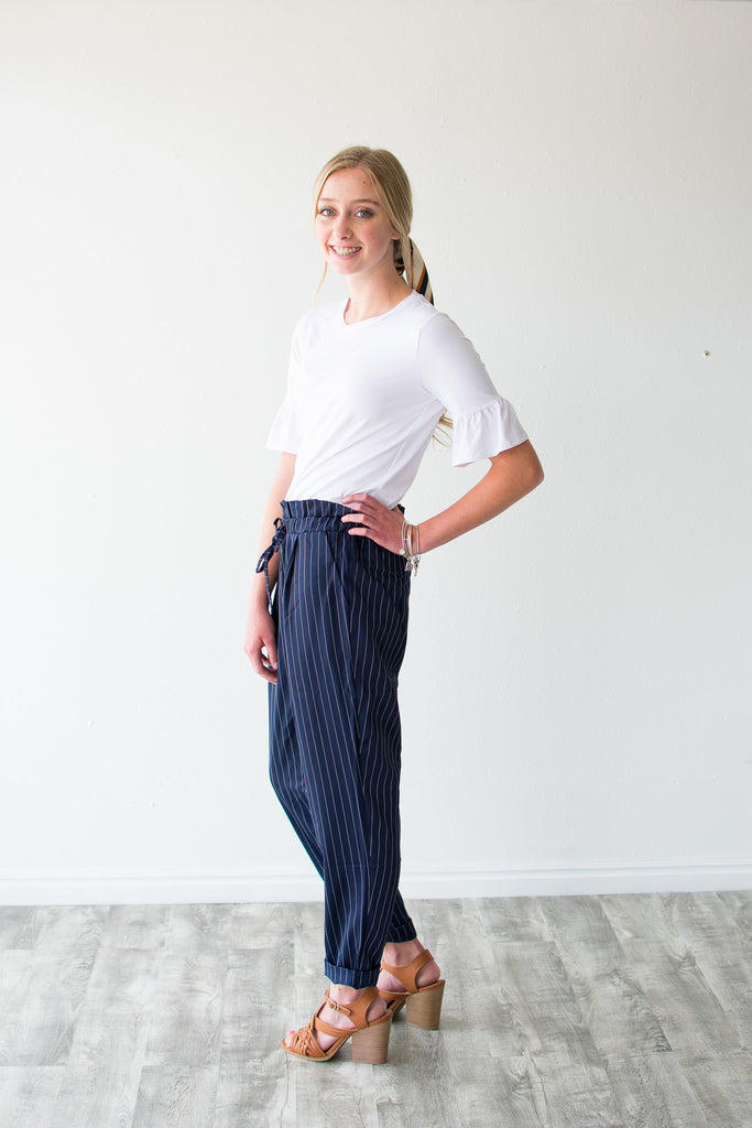 PINSTRIPE PANTS | NAVY