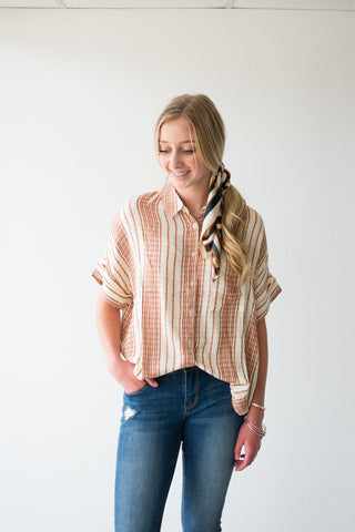 SHEILA BUTTON UP TOP | RUST