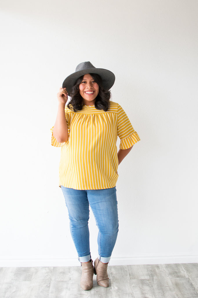 CHANNING STRIPE RUFFLE SLEEVE TOP | MUSTARD & WHITE