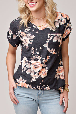 CHARCOAL AND BLUSH FLORAL TEE W/ PIN TUCK SLEEVE
