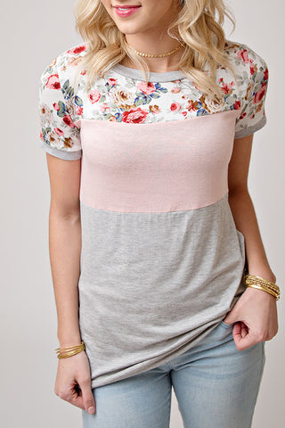 BLUSH AND FLORAL COLOR BLOCK TEE