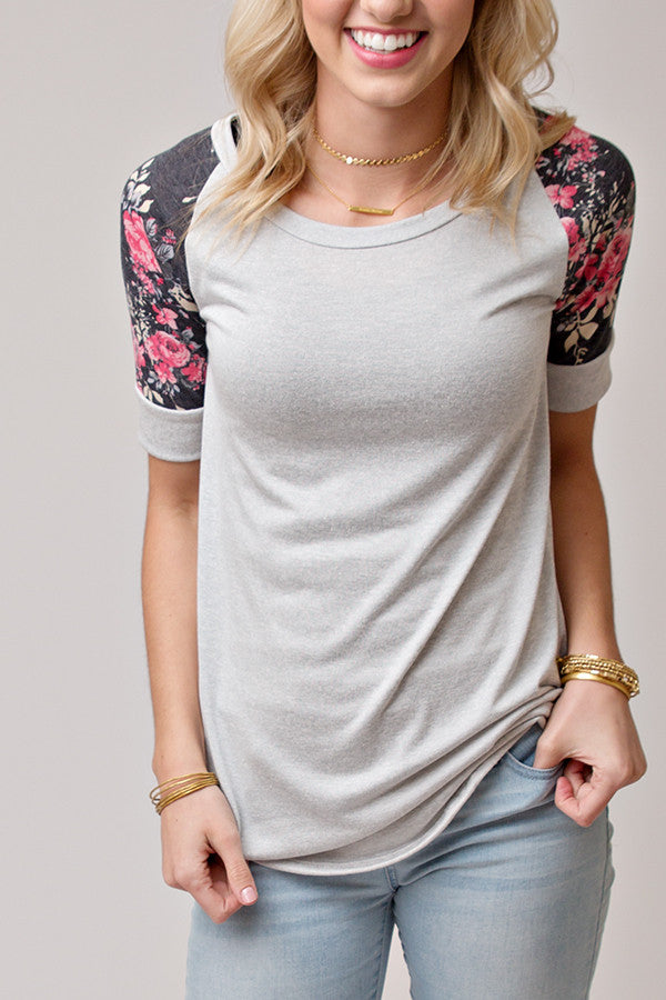 PINK AND GREY HALF SLEEVE FLORAL TOP