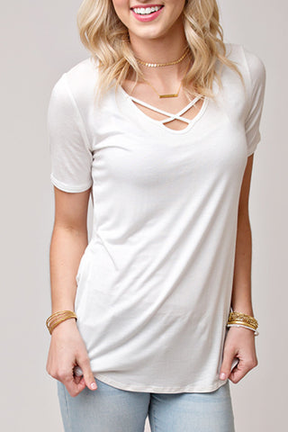 PERFECT CRISS CROSS TEE | IVORY